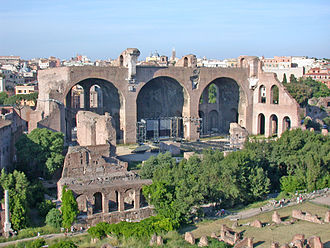 Basilica - Remains of the Basilica of Maxentius and Constantine in Rome. The building's northern aisle is all that remains.