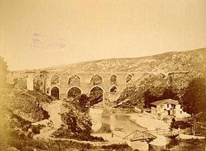 River Meles - An 1880 photograph showing the Roman-built (also used in Byzantine and Ottoman times) Kızılçullu aqueducts on the present-day and historically very discutable Meles Brook in Buca, İzmir, near which a cave associated with Homer is also found.