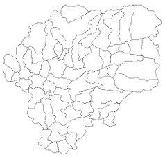 """Mapa konturowa okręgu Bistrița-Năsăud, w centrum znajduje się punkt z opisem """"Bystrzyca"""""""