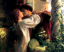 Painting of Romeo and Juliet, depicting the pair kissing as Romeo climbs through a balcony window.