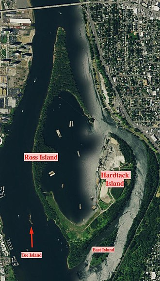 Ross Island (Oregon) - Satellite image of Ross Island, with each of the four islands labeled.