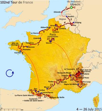 Карта Франции, показывающая маршрут гонки против часовой стрелки, начиная с Нидерландов, проходя через Бельгию, а затем вокруг Франции.