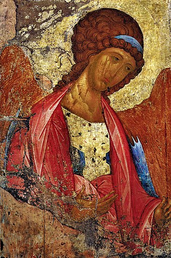 Archangel Michael fresco (1408) by Andrei Rublev, which represents the typical Russo-Byzantine style of art Rublev Arhangel Mikhail.jpg