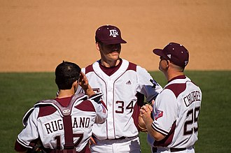 Texas A&M Aggies - Head coach Rob Childress (right) with two players in 2008