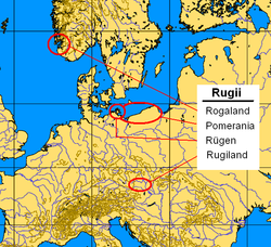 Settlement areas of the Rugii: Rogaland, Pomerania (since 1st century), Rugiland (5th century); Rügen (uncertain)