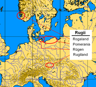 Rugii - Settlement areas of the Rugii: Rogaland, Pomerania (since the 1st century), Rugiland (5th century); Rügen (uncertain)