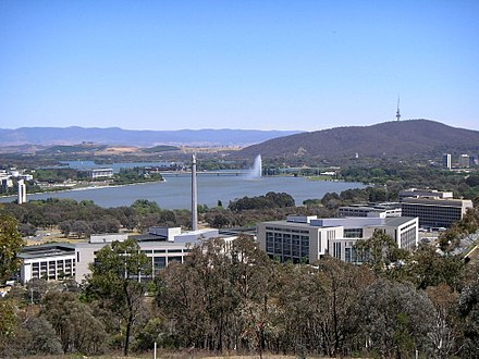 The ADF headquarters and the main offices of the Department of Defence are located in the Russell Offices complex in Canberra Russell Offices in November 2006.jpg