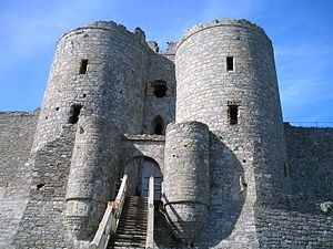 Harlech Castle - The gatehouse at Harlech Castle, showing the corbelled towers