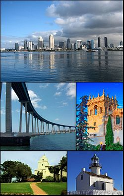 Images frae top, left tae richt: San Diego Skyline, Coronado Bridge, museum in Balboa Park, Serra Museum in Presidio Park an the Old Point Loma lighthouse