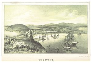 Mazatlán - Lithograph of Mazatlán in 1845