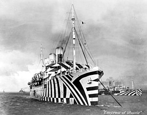 Sholto Johnstone Douglas - Photograph of SS ''Empress of Russia'' in dazzle camouflage, 1918