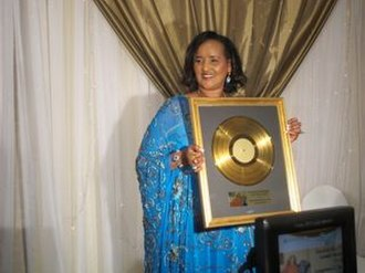 Music recording certification - Somali singer Saado Ali Warsame receiving a gold record Lifetime Achievement Award