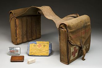 Saddlebag -  World War I pannier-style saddlebags containing a first aid kit