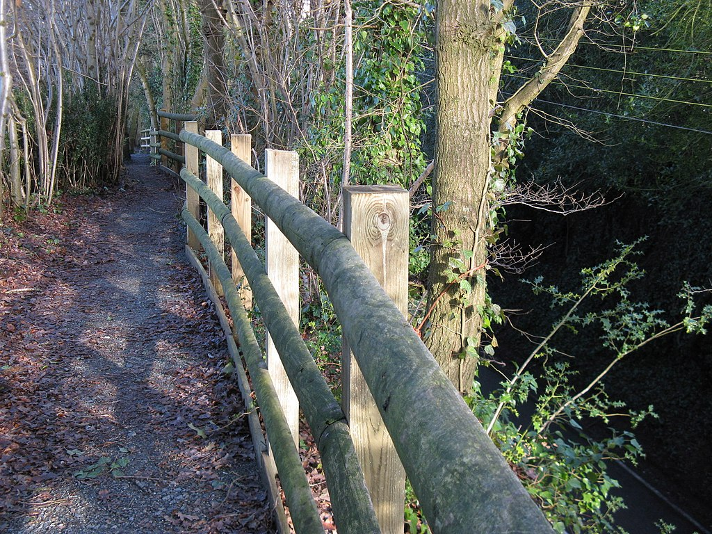 Safety fence on side of footpath high above the B 2139 at Abingworth - geograph.org.uk - 1671291.jpg
