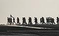 Sailors participate in a CPO 365 run on the flight deck of USS Dwight D. Eisenhower. (34745077513).jpg