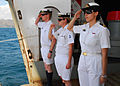 Sailors render honors as distinguished visitors depart HMAS Tobruk.jpg