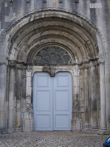 Saint Michael abbey church of Saint-Mihiel (Meuse, France). Main portal
