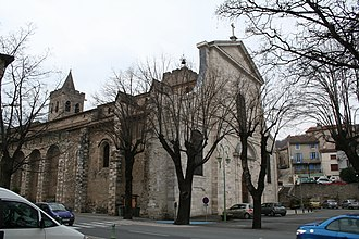 Saint-Pons-de-Thomières Cathedral - Saint-Pons-de-Thomières Cathedral from the south, showing the rebuilt east front