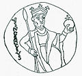 Saint Vincent of Saragossa on the coronation pall of Hungary.jpg