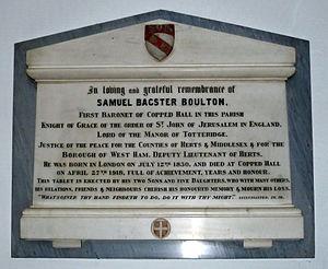 Samuel Boulton - Samuel Bagster Boulton plaque St Andrew's church, Totteridge.