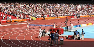 Samuel Wanjiru - Wanjiru approaching the finishing line at the 2008 Summer Olympics