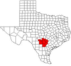 Mapa que muestra la ubicación del MSA San Antonio-New Braunfels