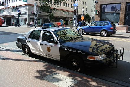 San Diego Police Department car in the city center San Diego Police Department car.jpg