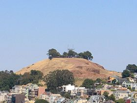 The Bernal Heights hill and microwave tower.