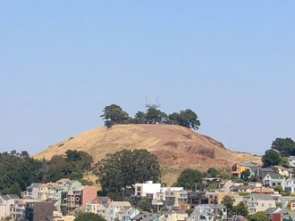 Bernal Heights, San Francisco - The Bernal Heights hill and microwave tower.