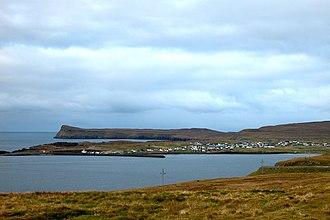 Sandoy - Sandur on the Island of Sandoy – view from the bay of Sandsvágur in the southeast