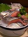 Sanma sashimi by jetalone in Kushiro, Hokkaido.jpg