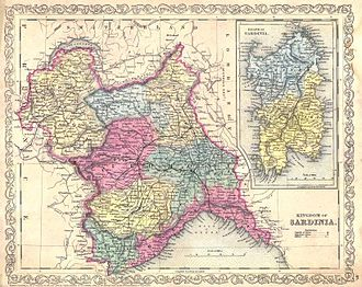 Kingdom of Sardinia - A map of the Kingdom of Sardinia in 1856, after the fusion of all its provinces into a single jurisdiction