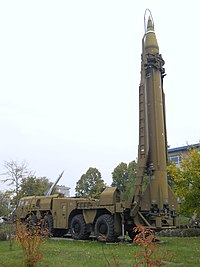 Scud missile on TEL vehicle, National Museum of Military History, Bulgaria.jpg