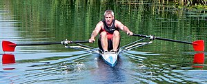 Single scull - Rower in a scull on the Great Ouse river, England.
