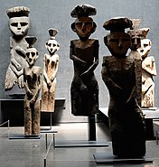 Sculptures at the Pre-Columbian Art Museum in Santiago, Chile