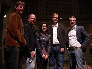 Atrios - Atrios (second from right). To the left of him are (left to right) Matt Stoller, David Goldstein, and Janeane Garofalo. At right is David Postman (Seattle Times)