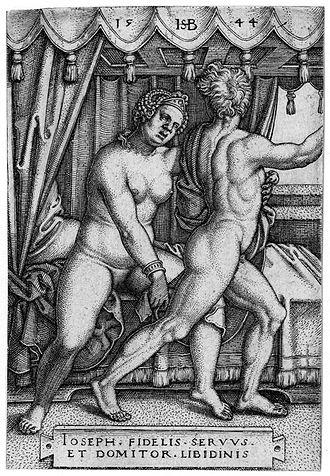 Sebald Beham - Image: Sebald Beham Joseph und Potiphars Weib 1544