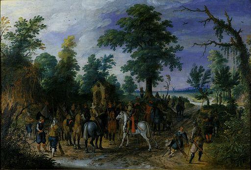 Sebastiaan Vrancx - Reiterei und Fußvolk vor einer Kapelle
