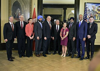 Marc Garneau - Garneau and other members of Trudeau's cabinet welcoming U.S. Secretary of Homeland Security John F. Kelly in March 2017