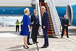 Secretary Kerry, watched by Ambassador Pyatt, Chats with Ukrainian Chief of Protocol Olga Chubrickova after Arriving at Kyiv Boryspil International Airport (27532818524).jpg