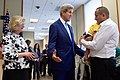 Secretary Kerry Chats With a Yemeni-American Who Received Travel Documents for Family Members Who Had to Flee Yemen During an Event at the U.S. Embassy in Djibouti (17186220447).jpg