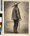 Seurat - The Miller (Fort de la Halle); whole-length man standing in profile to right, wearing hat and holding cane, c.1882.jpg
