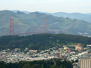 Richmond District, San Francisco - San Francisco's Richmond District in foreground, with Golden Gate Bridge, Marin Headlands, and the Presidio in background