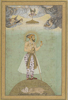 Shahjahan on globe, mid 17th century.jpg