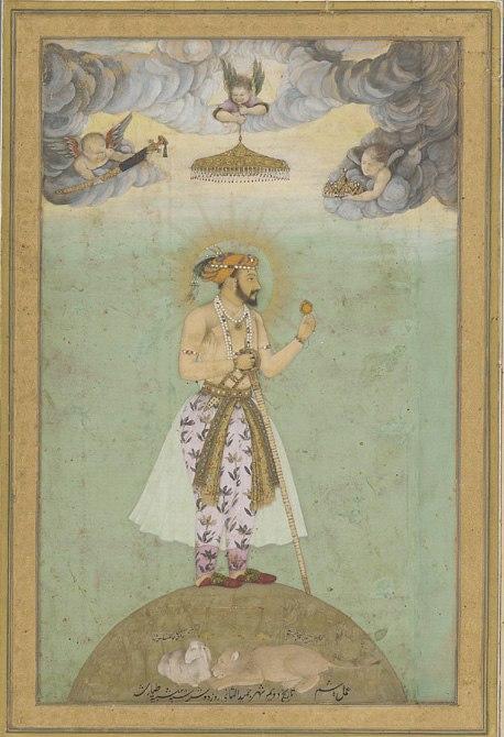 Shahjahan on globe, mid 17th century