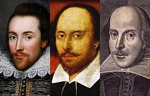 Portraits of Shakespeare - The Cobbe portrait (1610), The Chandos portrait (early 1600s) and the Droeshout portrait (1622): three of the most prominent of the reputed portraits of William Shakespeare.