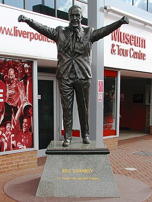 Liverpool F.C. - Statue of Bill Shankly outside Anfield. Shankly won promotion to the First Division and the club's first league title since 1947.