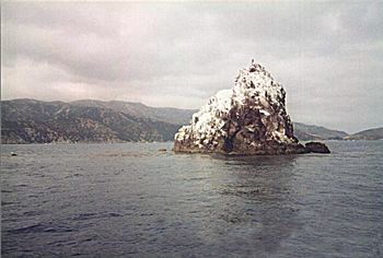 Ship Rock is located 5 miles east of the Isthmus on Catalina Island California.