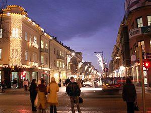 Šiauliai - Pedestrian boulevard at night