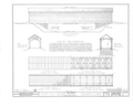 Side Elevation, End Elevation, Cross Section, 1-2 Roof Plan, 1-2 Reflected Plan, 1-2 Floor Plan, 1-2 Reflected Plan - Jack's Mill Covered Bridge, Spanning HABS ILL,36-OQUA.V,1- (sheet 1 of 2).png